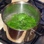 Spinach Pasta: Parboiling spinach