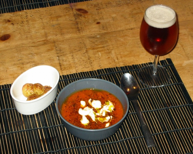 Carrot and Tomato Soup with Basil and Tarragon: +Beer!