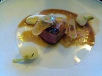 3rd course: Maple glazed duck breast, turnip, and pistachio